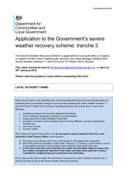 Application form for the severe weather recovery scheme
