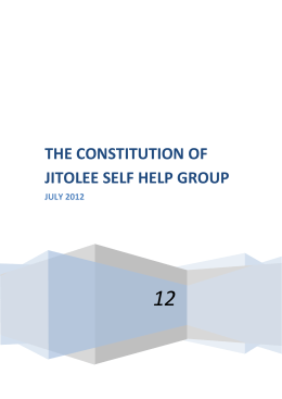 THE CONSTITUTION OF JITOLEE SELF HELP GROUP