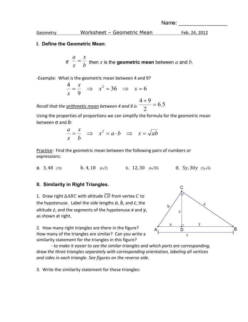 Uncategorized Similarity In Right Triangles Worksheet worksheet geometric mean