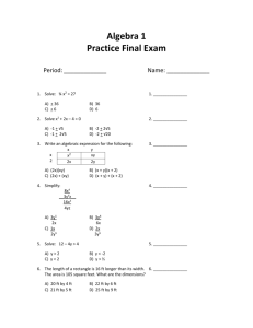 Algebra 1 Practice Final Exam - Fort Thomas Independent Schools