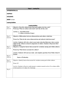 Stage 3 – Learning Plan DIFFERENTIATION (I