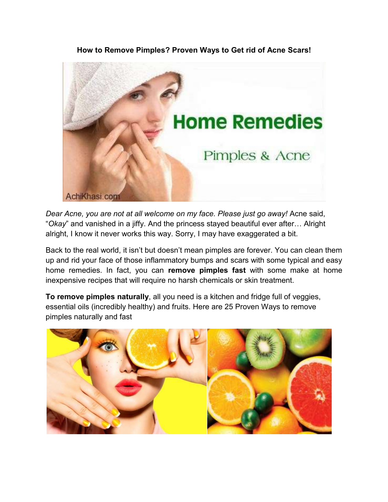 Naturally fast remove pimples How to