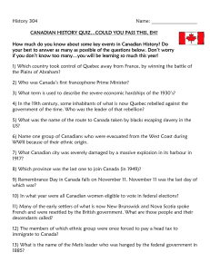 CANADIAN HISTORY QUIZ…COULD YOU PASS THIS