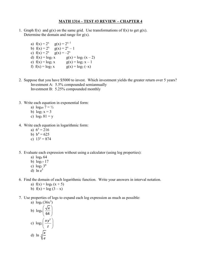MATH 1314 – TEST #3 REVIEW – CHAPTER 4 1. Graph f(x) and g(x