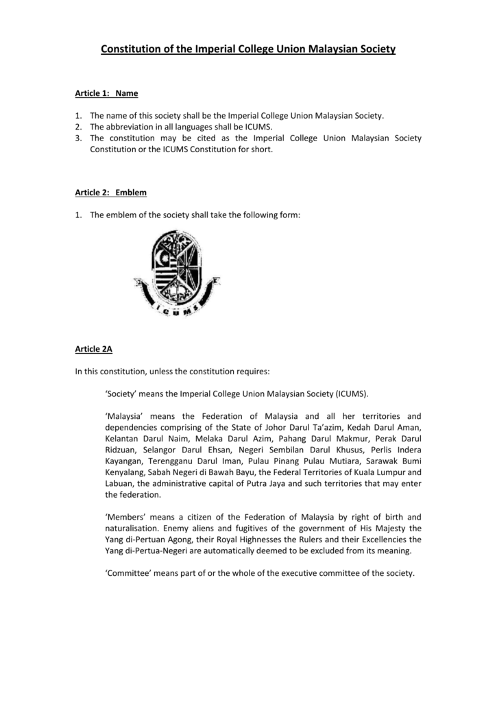 Constitution Of The Imperial College Union Malaysian Society
