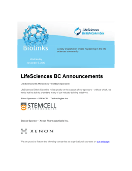 LifeSciences BC Announcements