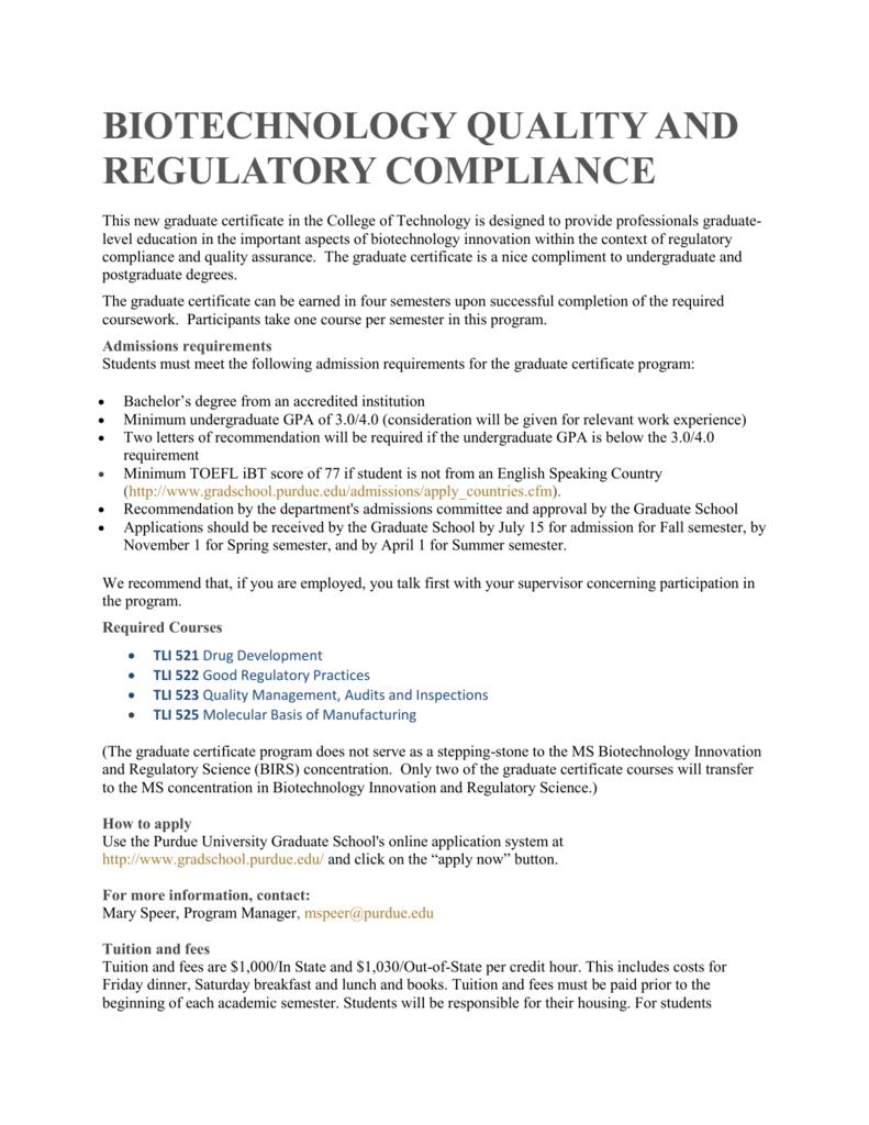 Biotechnology Quality And Regulatory Compliance