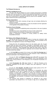 LEGAL ASPECTS OF NURSING The Philippine Nursing Law