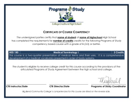 HED 150 – Certificate