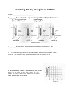 Worksheet On Permeability, Porosity, Water Retention And Capillarity
