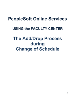 Add/ Drop During Change of Schedule