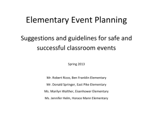 Elementary Event Planning Guidelines