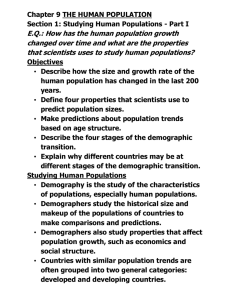 NOTES: Studying Human Populations, C.9.1