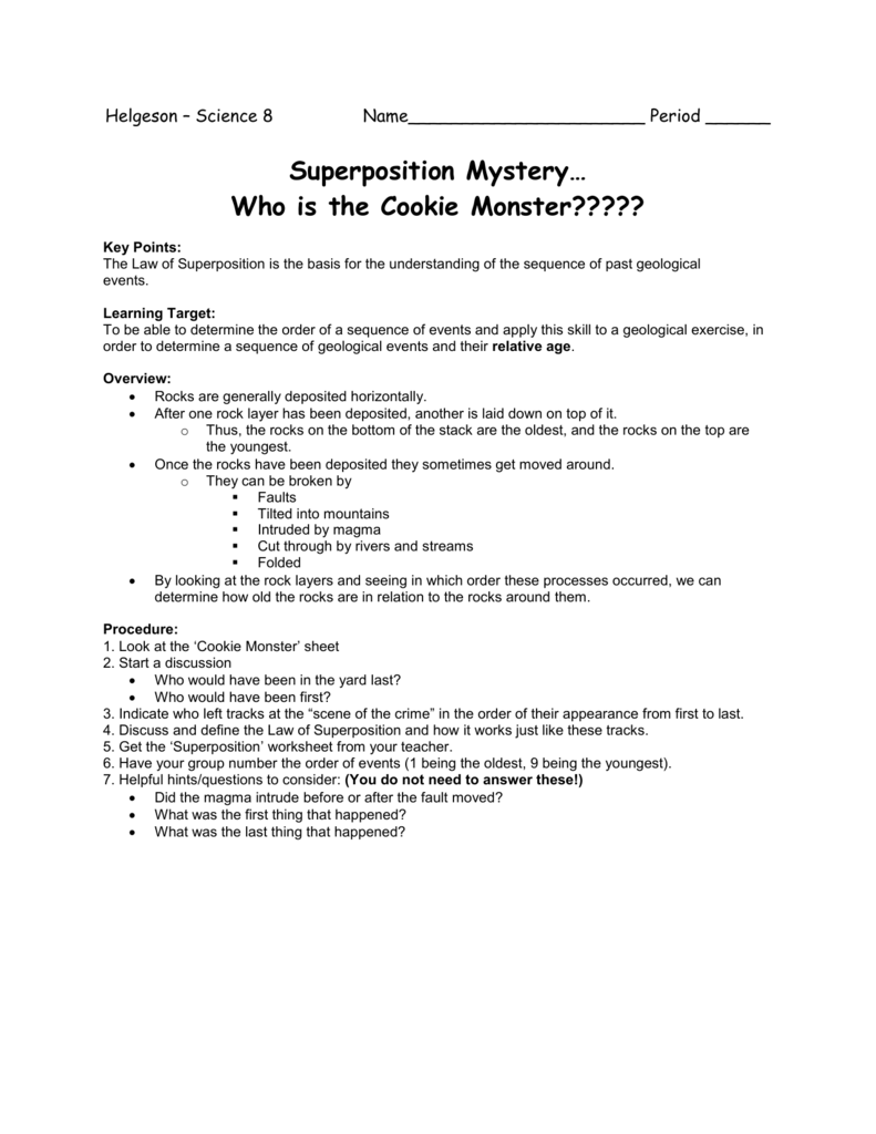 Worksheets Law Of Superposition Worksheet superposition mystery