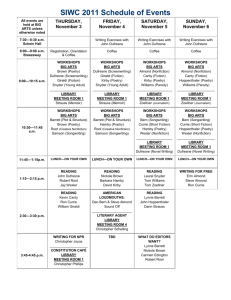 SIWC 2011 Schedule of Events