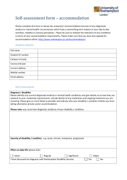 Accommodation disability self assessment form