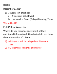 Health December 1, 2014 3 weeks left of school 2 weeks of actual