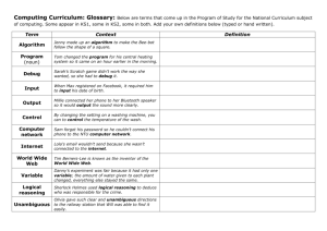 Computing curriculum glossary sheet