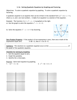 3.1A Notes Solve by Graphing and Factoring