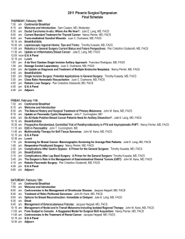 2011 Phoenix Surgical Symposium Final Schedule THURSDAY