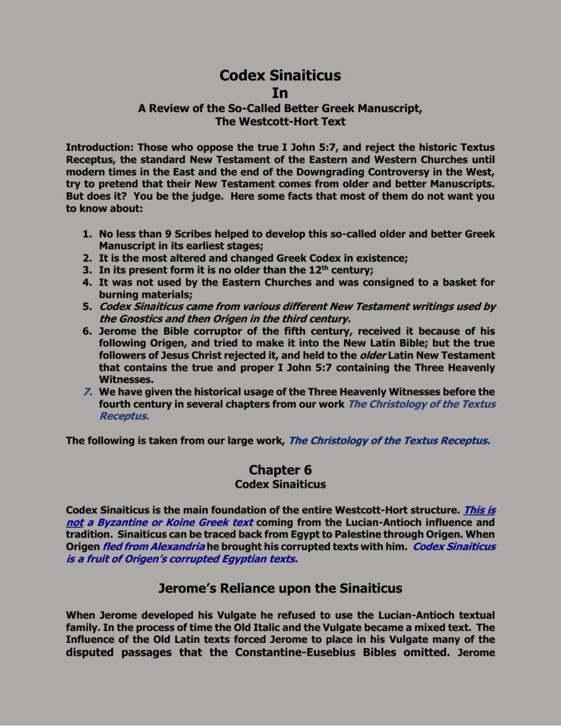 Summation of the Codex Sinaiticus