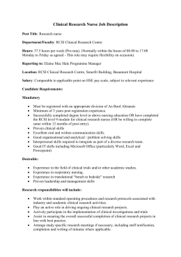 Job Description for Clinical Research Nurse with RCSI