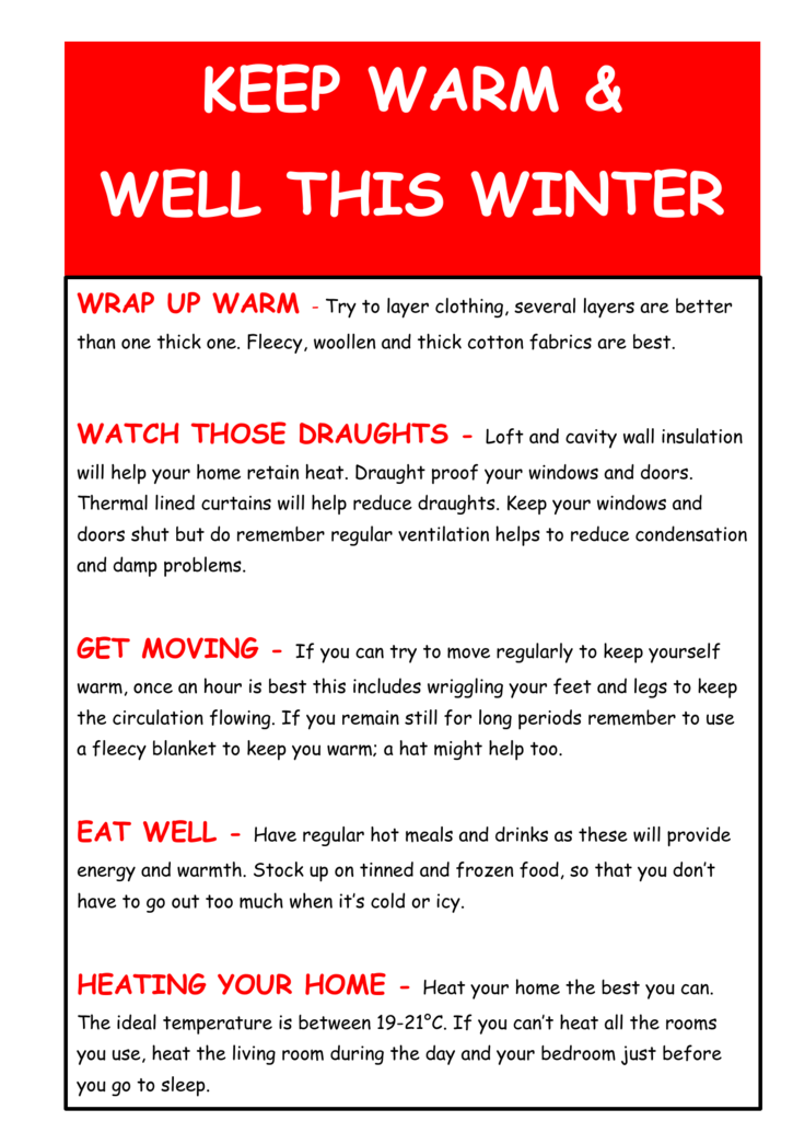 Keep warm and well this winter south king street medical - What temperature to keep house in winter when gone ...