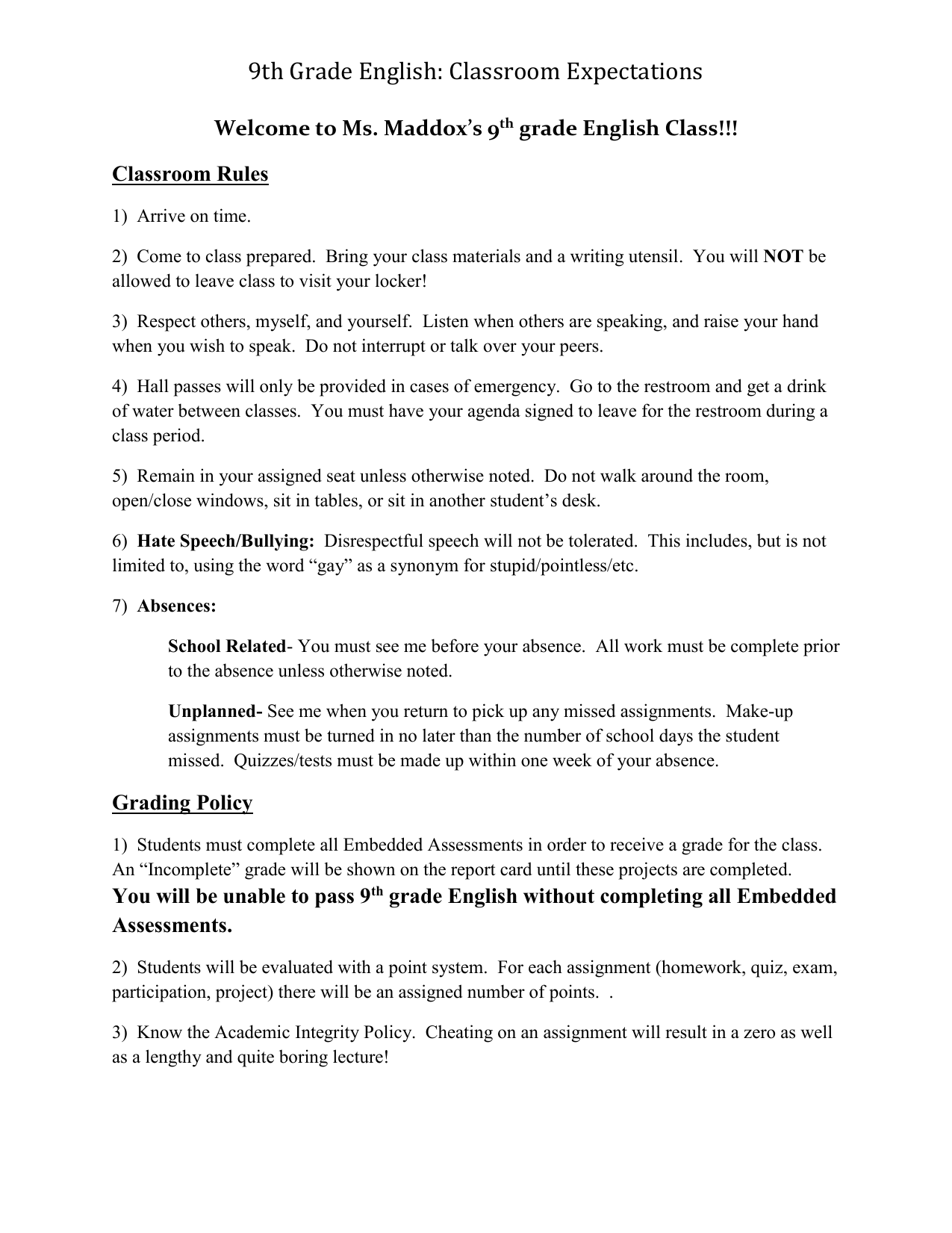 9th Grade English: Classroom Expectations