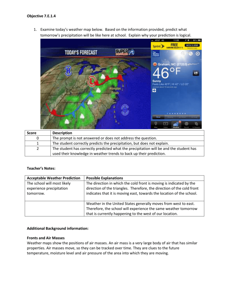 Tomorrow\'s Weather Map Objective 7.E.1.4 Examine today`s weather map below. Based on Tomorrow\'s Weather Map