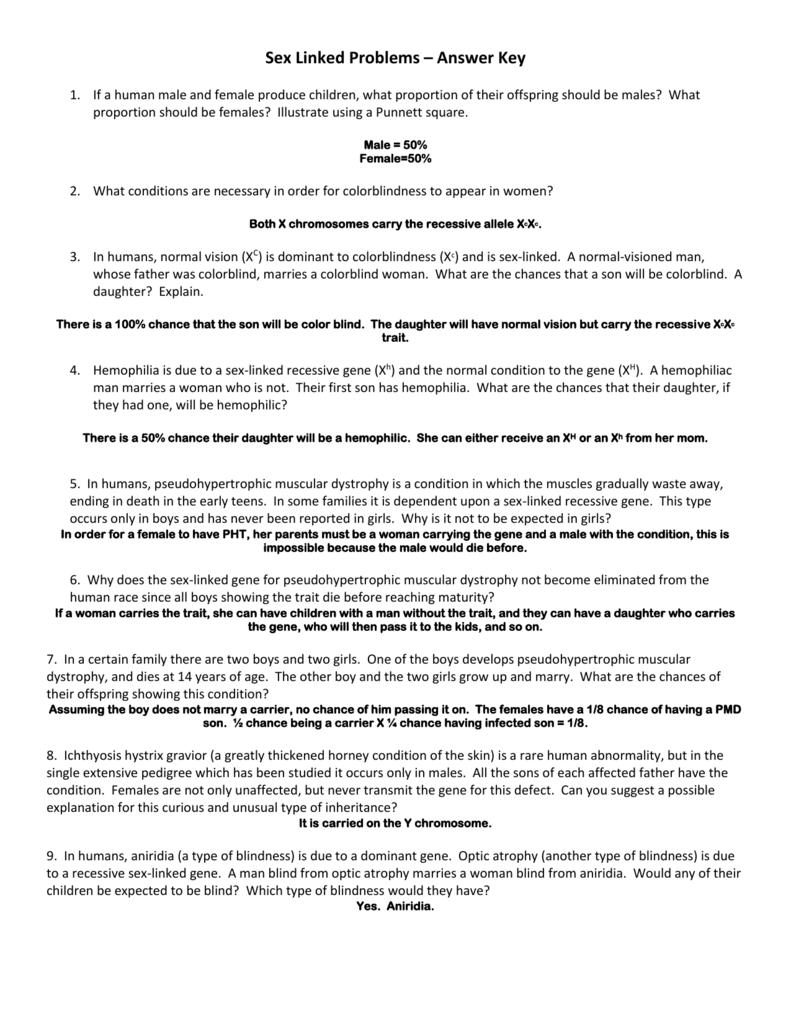 worksheet Sex Linked Problems Worksheet Answers sex linked problems