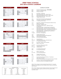 2015-2016 District Calendar