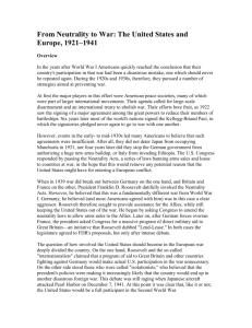 From Neutrality to War: The United States and Europe, 1921–1941