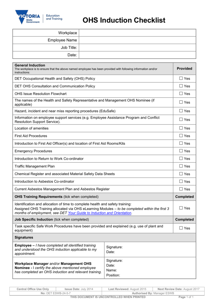 OHS Induction Checklist docx – Induction Checklist Template