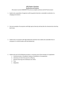 APES Chapter 4 Questions Biodiversity and Evolution All answers