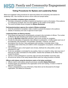 Voting Procedures for Bylaws and Leadership Roles