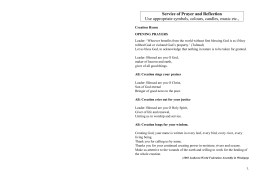 Service of Prayer and Reflection