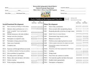 Early Childhood Developmental Checklist II