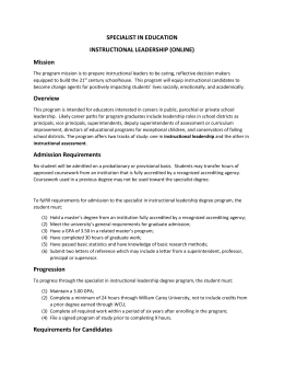 Instructional Leadership Requirement (12 hours)