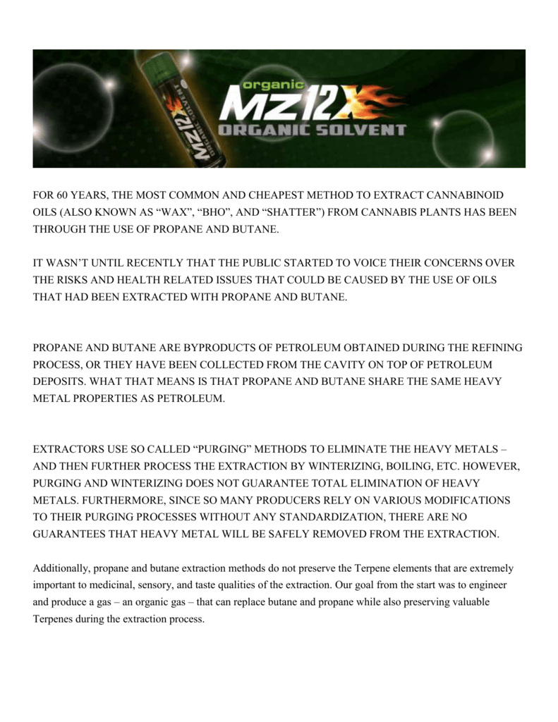 key facts of mz 12x organic solvent - MZ12X