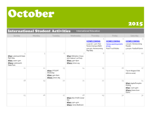 October 2015 International Student Activities International Education