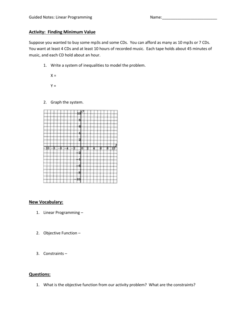 worksheet Linear Programming Word Problems Worksheet linear programming basics guided notes