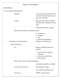 Chapter 17 Atmosphere Earth Science 17.1 Atmosphere