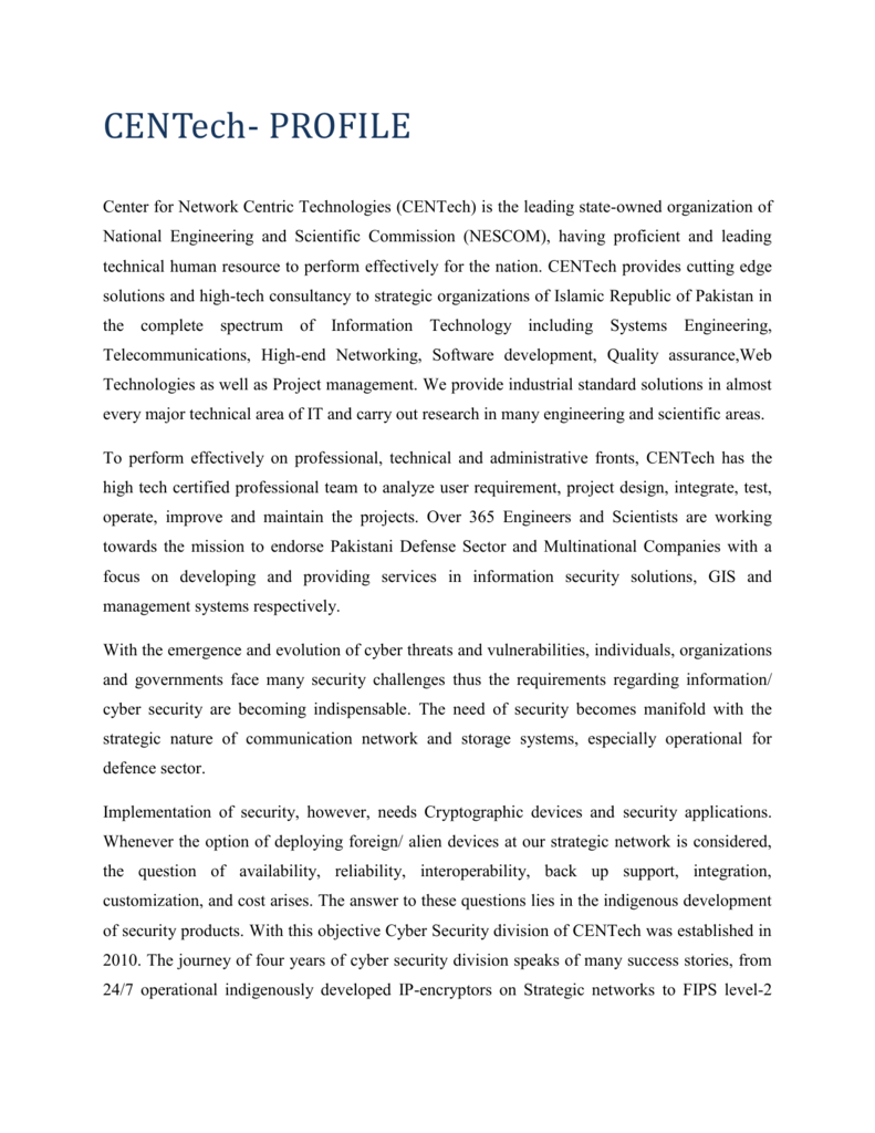 Center for Network Centric Technologies (CENTech)