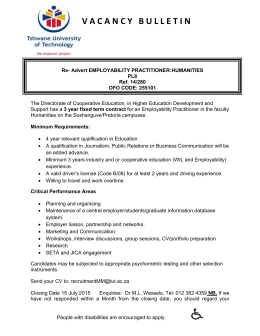 Advert Employability Practitioner Advertisment 2014 Humanities
