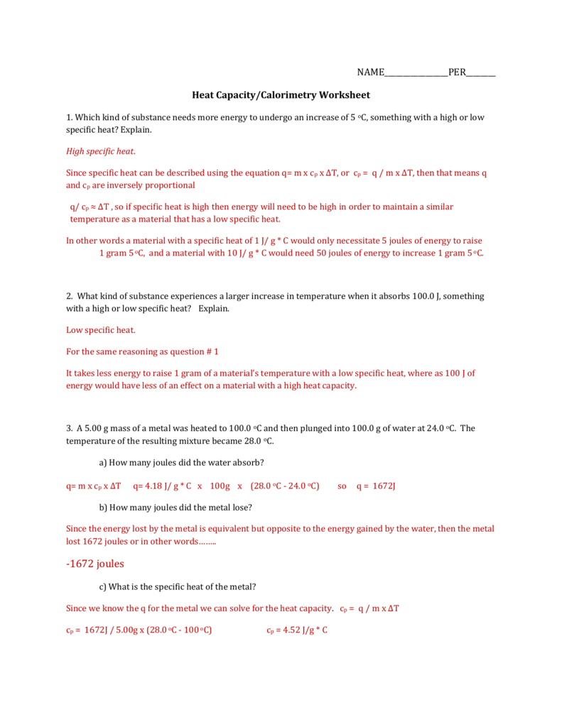 Uncategorized Specific Heat Worksheet Answers all grade worksheets specific heat worksheet answers answers