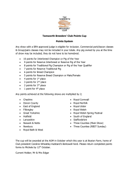 Tamworth Breeders` Club Points Cup Points System Any show with