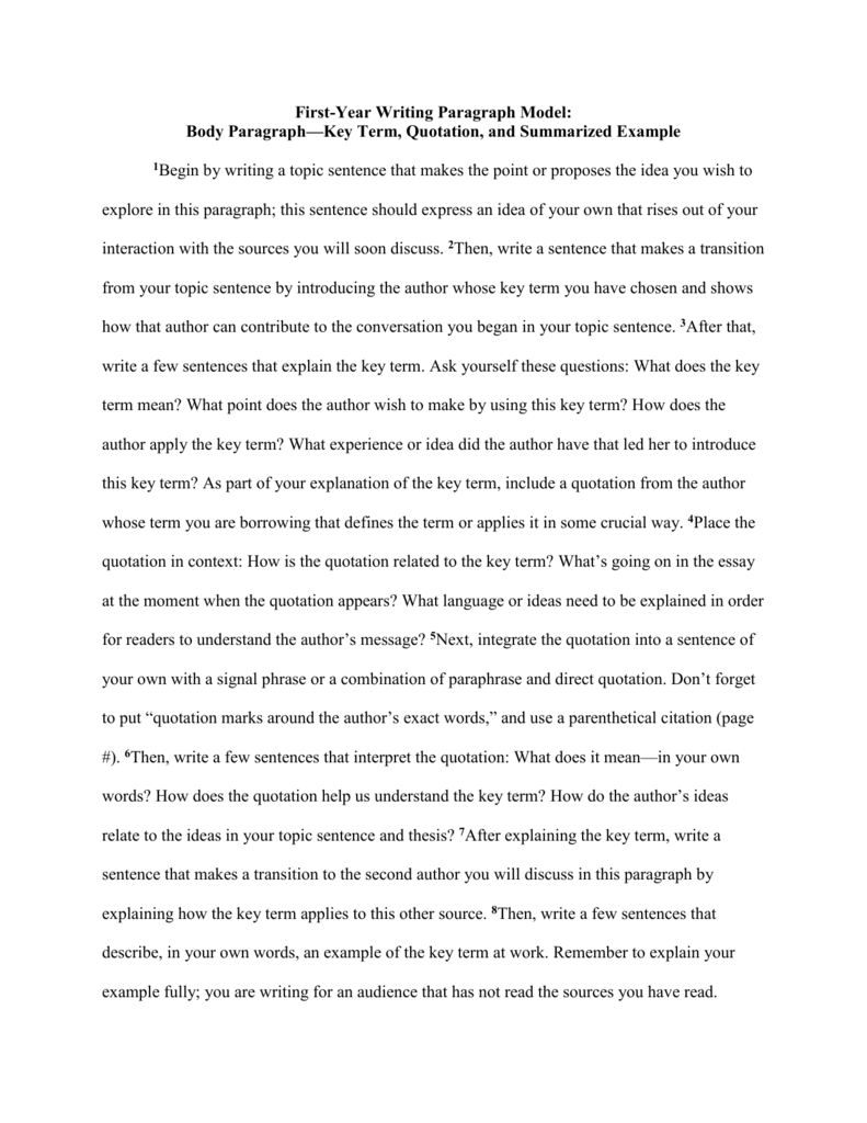 body paragraph model-key term and summarized example