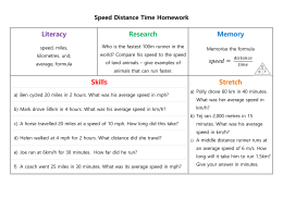 Speed Distance Time Homework Literacy