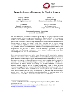 Toward a Science of Autonomy for Physical Syst ems