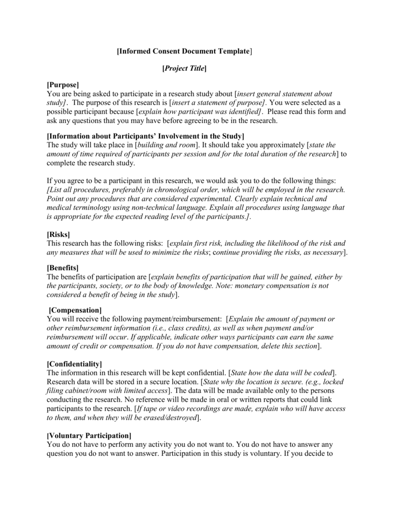 Informed Consent Document Template – Research Consent Form Template
